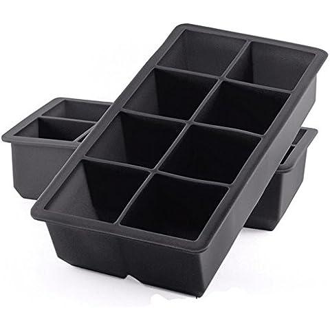 Best formine in silicone per cubetti di ghiaccio cubetti di 2, 16, Soft grandi (Set di 2) Black