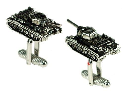 Tank Design Manschettenknöpfe in Geschenkbox Army Military - Onyx-Art London CK659