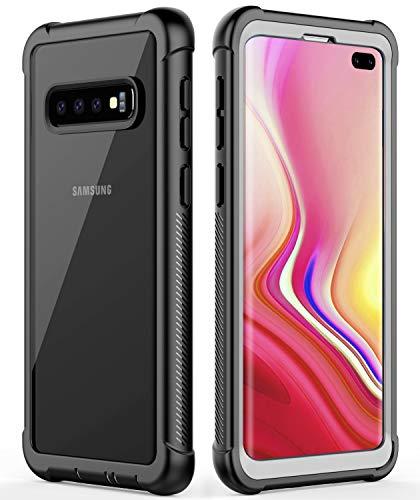 Temdan Kompatibel mit Samsung Galaxy S10+ Plus Hülle, Transparent Stoßfest Ohne Eingebaute Displayschutzfolie Robust Antirutschen Handyhülle Hülle für Samsung Galaxy S10+ Plus 6,4 Zoll Schwarz/Klar