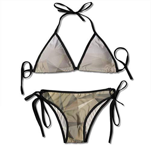 hdghg shop Frauen Badeanzug Abstraction Brown Texture Women's Bikini Set Swimsuit Bathing Suit Halterneck Triangle Swimwear Two-Piece Suits - Brown Womens Bikini