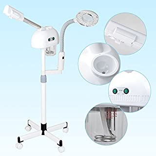 AceFox Professional Ozone Aroma Facial Steamer + Table LED Magnifying Lamp for Beauty Salon Spa