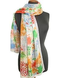 Nella-Mode traumhaft schöner SEIDENSCHAL in sommerlichen Farbtönen; Sommerschal aus Seide in modernem Design, 167x50cm