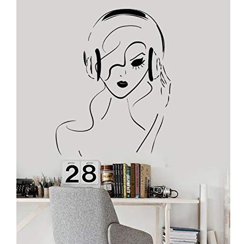 Musikalische Zahnbürste (Vinyl Wandtattoo Teen Mädchen Frau Musikalische Kunst Kopfhörer Musik Aufkleber Wohnkultur Schlafzimmer 56x71 cm)