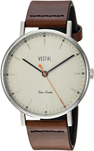 Vestal Men's Sophisticate' Swiss Quartz Stainless Steel and Leather Dress Watch, (Model: SPH3L08) One Size Brown