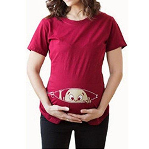 Schwangerschaft Mutterschaft T-shirt (Q.KIM Witzige süße Schwangere Maternity Damen Umstandsmode T-Shirts mit Mutterschafts-niedliche lustige Slogan Motiv Schwangerschaft Geschenk Kurzarm I'm coming, Rot L)
