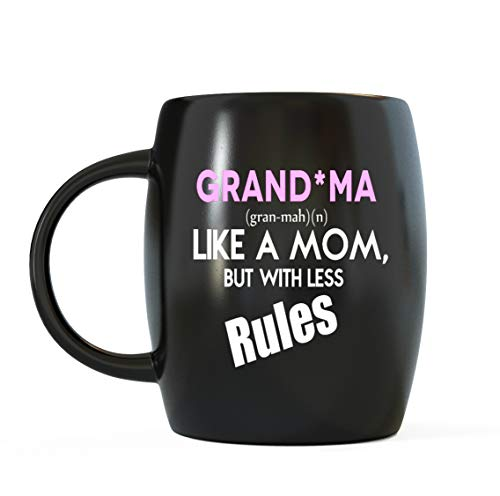 Mug un jour Grandma comme une maman mais avec moins de règles fantaisie pliables Verrerie – World's Best Grandma Café Thé Mug pour fête, Noël et anniversaire – Voyage, au bureau ou camping Tasses