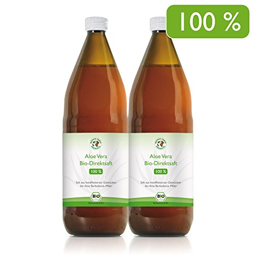 Succo 100% organico Aloe Vera Premium Filettato a mano | Ricco di ingredienti naturali | Aloverosio medio 1200mg | 2 x 1000 ml