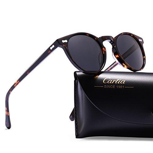 Carfia Polarisierte Herren Sonnenbrille Modische Metallrahmen Fahrer Sonnenbrille 100% UV400 Schutz für Golf, Autofahren, Outdoor Sport, Angeln (Gestell: Gunmetal, Gläser: Grün - 2)