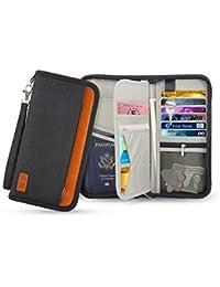 Phoneix Travel Passport Wallet, RFID Blocking Credit Cards Holder Waterproof Cash Coins Organizer Bag with Hand Strap Zip for Women & Men(Black)