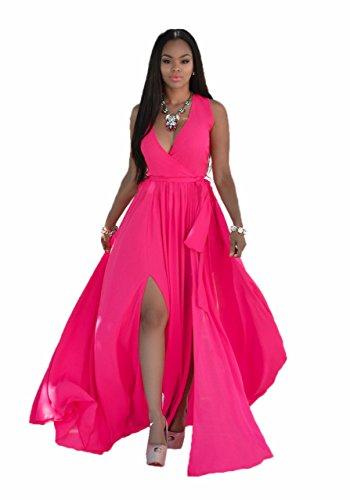 Blansdi Femmes Col V Profond Sans Manches Maxi Jupe Bandage Mousseline de Soie Zipper Slit Cocktail Robe Longue Rose