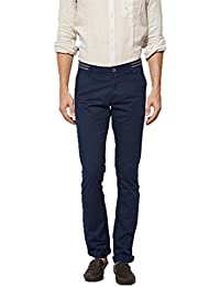 Beevee Mens Navy Casual Mid-rise Trousers,narrow Fit And Stretch Fabric, Soft Cotton Blend, Has A Zip Fly With...