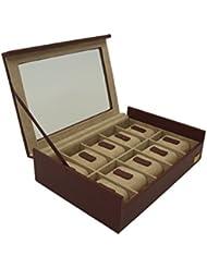Cordays Estuche Relojero para 10 Relojes con Vitrina de Cristal. –Calidad Premium- Hecho a Mano. Unisex. Color Marsala CDL-10006