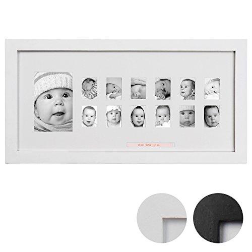 Ersten Jahr Bilderrahmen Collage (Jago Bilderrahmen in Schwarz oder Weiß für 1 großes und 12 kleine Fotos aus Paulownia-Holz Mein erstes Jahr Baby im 1er/2er/4er/5er/6er-Set)