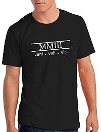 "Mens 2003"" Veni Vidi Vici 15th Birthday T Shirt Gift With Year Printed In Roman Numerals"