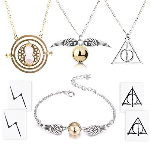 4 Stück Halskette Armband mit den Heiligtümern des Todes Golden Snitch Time Turner Kette Anhänger Halskette für inspirierte Fans Geschenke Sammlungen