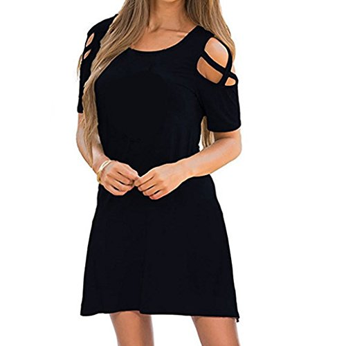 CUIGU Womens Plus Size Sexy Criss Cross Cut Out Cold Shoulder T-Shirt Dress Casual Solid Color