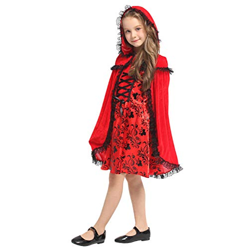 QUNSHIANK Mädchen Partykleid Halloween Cosplay Kostüm Rotkäppchen Kostüm Kinder Mädchen Jungen Halloween Cosplay 4-12 Jahre (Farbe : Photo Color, größe : M)