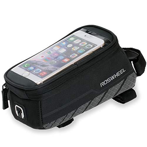 JATrade Fahrradtasche Rahmentasche Handyhalterung Fahrrad für Galaxy, iPhone, Smartphone, Wasserfest, Kopfhörerloch, einfache Montage, für Mountainbike, Rennrad, Trekkingbike, E-Bike - Schwarz