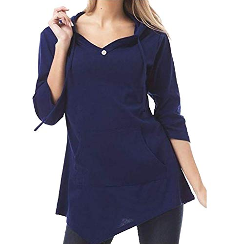 Preisvergleich Produktbild Sannysis Damen Pullover Langarmshirt Elegant Frauen Herbst Langarm Solid Hooded Pocket Sweatshirt Bluse Tops T-Shirt