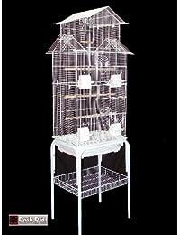 Jaula de pájaros Barcelona con soporte diseño pagoda para pájaros pequeños, color blanco
