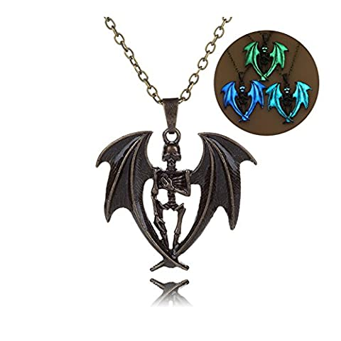 Beydodo 3PCS Halloween Jewellery Bat Wing Skull Necklace Set for Men and Women Luminous Pendant for