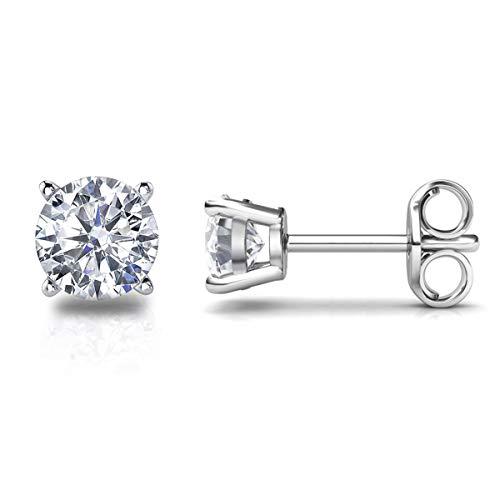Ohrstecker Echt 925 Sterling Silber Ohrringe mit Zirkonia Diamant Strassstein, Frauen Schmuck ()