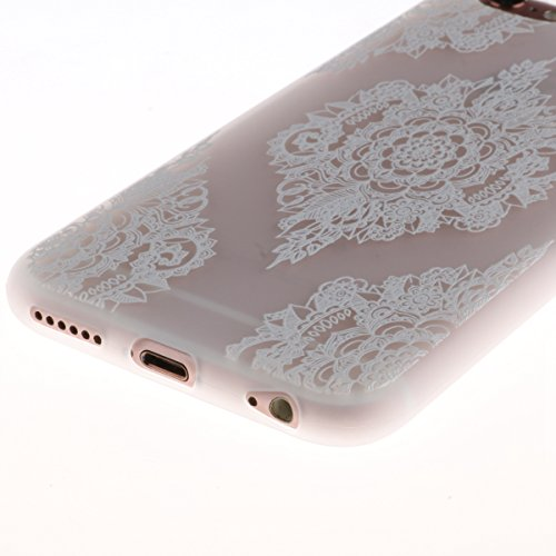 iPhone 6 Plus Hülle,TPU Silikon Defender für iPhone 6s Plus,Ekakashop Bunte Marmor Muster Ultra dünn Slim Transparent Flexible Gel Crystal Klar Case Protective Schutzhülle Durchsichtig mit Niedliche C Mandala