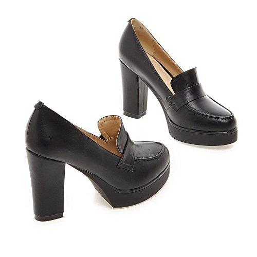 AllhqFashion Femme Couleur Unie Pu Cuir à Talon Haut Rond Tire Chaussures Légeres Noir