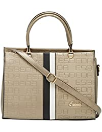 ESBEDA D-Gold Solid Pu Synthetic Fabric Handbag For Women