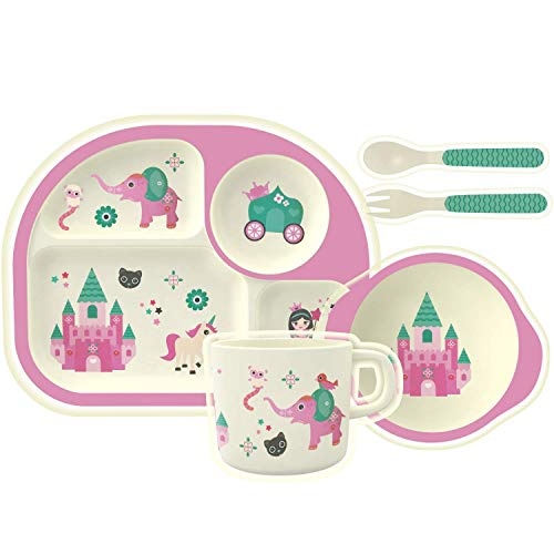 HOMEWINS Kindergeschirr Set aus Bambus 5 teilig - Teller, Schüssel, Löffel, Gabel, Tasse, BPA Frei Lernbesteck Geschirr Sets für Kinder ab 6 Monaten (Burg) - Baby Geschirr