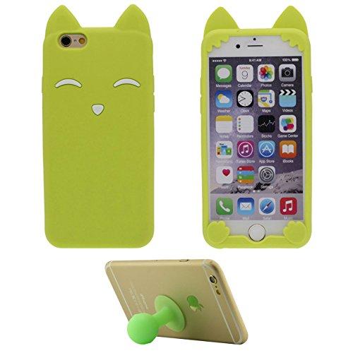 """iPhone 6S Plus Coque Jaune Étui de Protection Anti Choc 3D Mignon Sourire Fox Désign Populaire Doux Silicone TPU Gel Mince Case Bumper pour Apple iPhone 6 Plus 6S Plus 5.5"""" avec 1 Silicone Titulaire vert"""