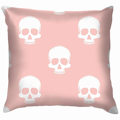 vintage cap Skulls On Rose Quartz Skull Throw Pillows Covers Accent Home Sofa Cushion Cover Pillowcase Gift Decorative 18X18 Inch (Decorations Scary Outdoor Halloween Diy)