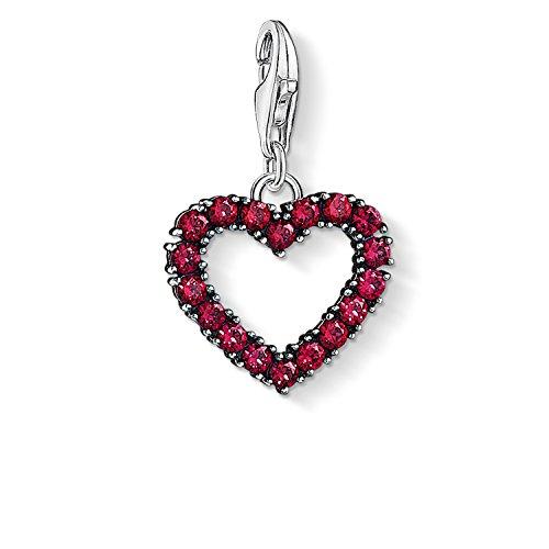 Thomas Sabo Damen-Anhänger Herz mit pinken Steinen 925 Sterling Silber 1476-639-10