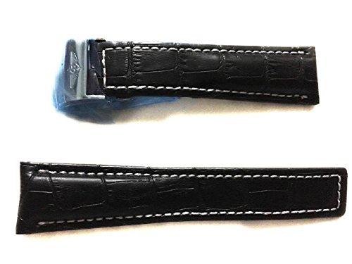 24-20mm-reloj-correas-de-cuero-negro-beige-cierre-de-plata-para-breitling-relojes