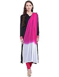 Dupatta Bazaar Women's Pink And White Chiffon Dupatta.