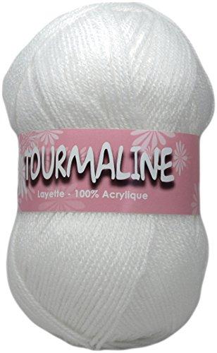 DISTRIFIL TOURMALINE 1320.2.1103 – Pelote de Laine 100% Acrylique pour Layette – 2 Pelotes – Blanc