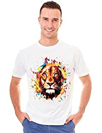 Retreez Colorful Lion King of Jungle Strength Graphic Printed T-Shirt Tee
