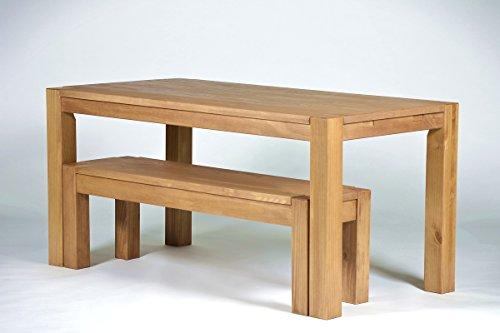 Esstisch,Rio Bonito, 160x80cm + 1x Sitzbank in 140x38cm, Pinie Massivholz, geölt und gewachst, Tisch und Bank: Farbton Honig hell (Tisch + 1x Bank 140x38cm)