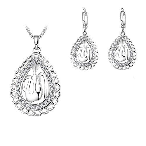 Schmuck Set Damen Religiöse Muslimische Islam Koran Allah Kette Muslim Ohrringe Anhänger Gold/Silber Kristall Wassertropfen Islamische Halskette (Silber)