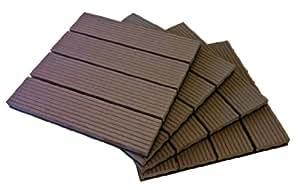 Terrassendielen aus Verbundstoff, zusammensteckbar, Fliesen, 1m2, braun