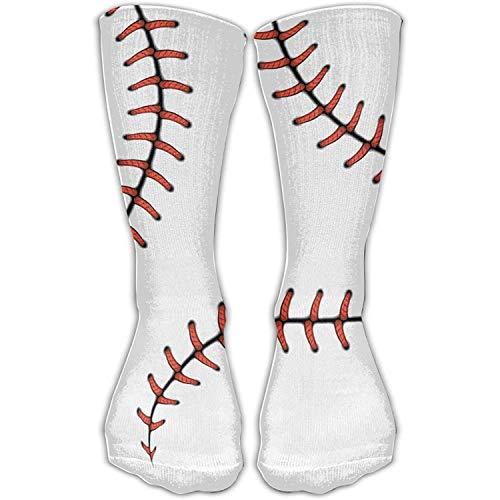 Men Women Baseball Stitches Red Line Curve Softball Novelty Sport Stocking Socks Athletic High Sock Gift Outdoor 19.7 inch