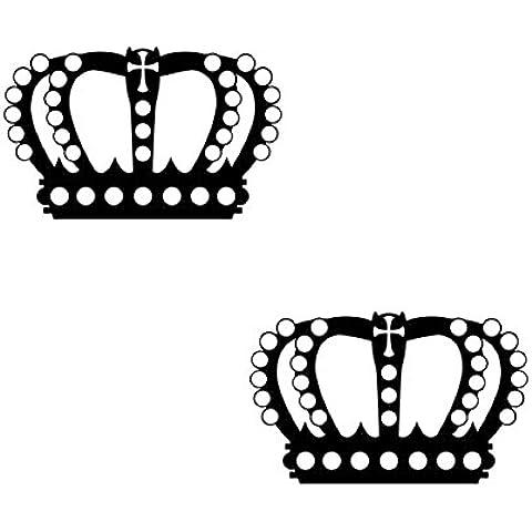 2pezzi Corona 12cm RE regina adesivo Tattoo la Cut Pellicola Decorativa adesivo da parete, plastica, nero, 12 cm