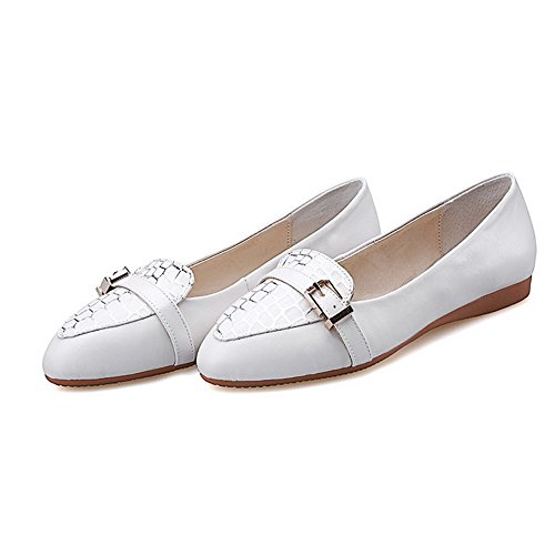 AllhqFashion Damen Niedriger Absatz Gemischte Farbe Ziehen Auf Pumps Schuhe Weiß