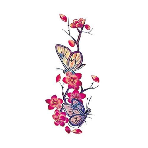 kashyk 1pc Kirschblüte Schmetterling Tätowierung Aufkleber, Flash temporäre Tätowierung Aufkleber, wasserdicht, schweißdicht, langlebig sexy Tattoo Aufkleber, Körperkunst, Hochzeit, täglich