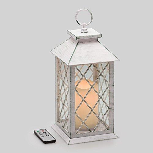 Farolillo vidrio y plástico blanco con vela LED, 34 cm, LED luz cálida, efecto llama, mando multifunción, luces ambiente a pilas