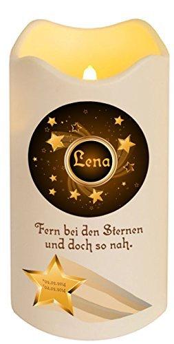 LED Vela Plástico Temporizador Sensor de luz 18 cm Interior + Exterior intermitente Llama Vela memorial personal Niños estrellas con nombre (Motivo 1)