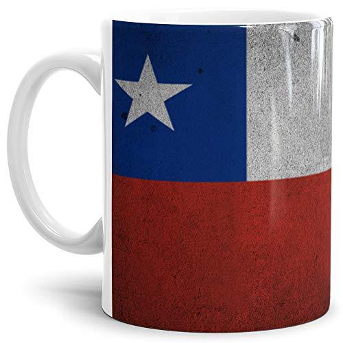 Tassendruck Flaggen-Tasse Chile Retro-Style - Kaffeetasse/Mug/Cup - Qualität Made in Germany