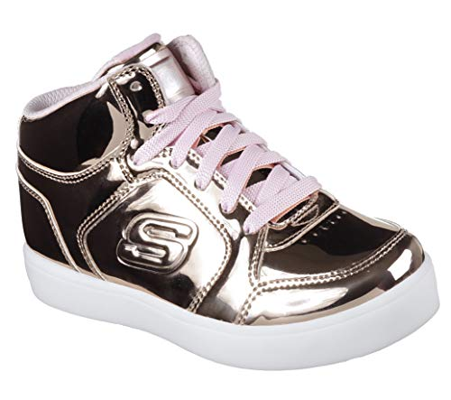 Skechers Kids Girls' Energy Lights-Dance-N-Dazzle Sneaker, Rose Gold, 3.5 M US Big Kid