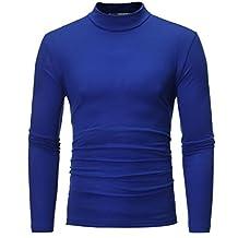 URSING Herren Turtleneck Shirt Herbst Winter Reine Farbe Langarm T-Shirt  Basic Pullover mit Rollkragen 60e3ffc01a