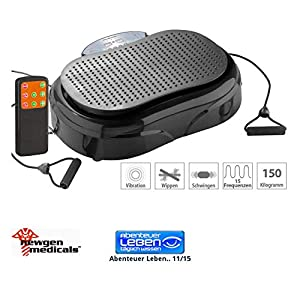 newgen medicals Vibrationstrainer: 3in1-Vibrationsplatte bis 150 kg, 300 Watt, Expander, Fernbedienung (Vibrationsgeräte)